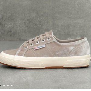 NIB Superga Light Grey Velvet Lace Up Sneakers